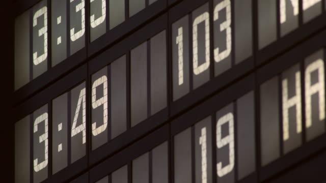 close up of a departure board in grand central terminal - 情報伝達サイン点の映像素材/bロール