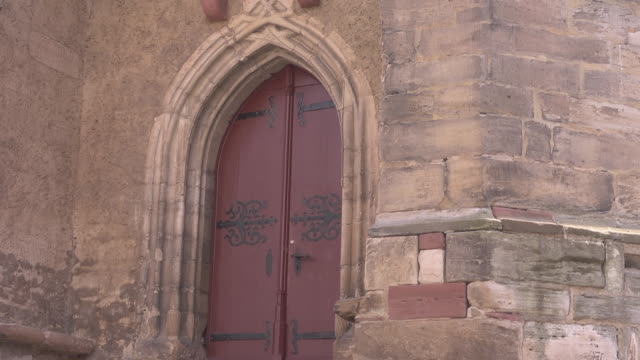 close up of a door of the church st. george in mansfeld - christianity stock videos & royalty-free footage