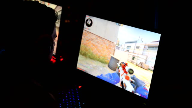 Close up of a Firstperson shooter at the 2018 DreamHack video gaming festival on January 27 2018 in Leipzig Germany The threeday event brings...