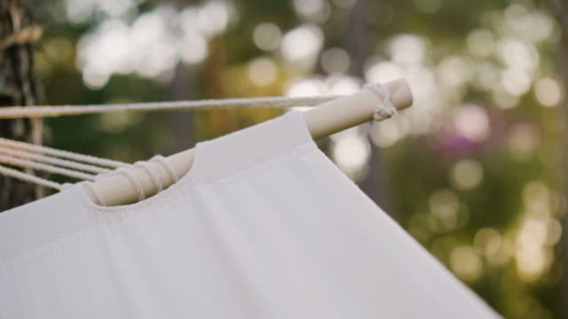close up of a hammock in a forest - hammock stock videos & royalty-free footage