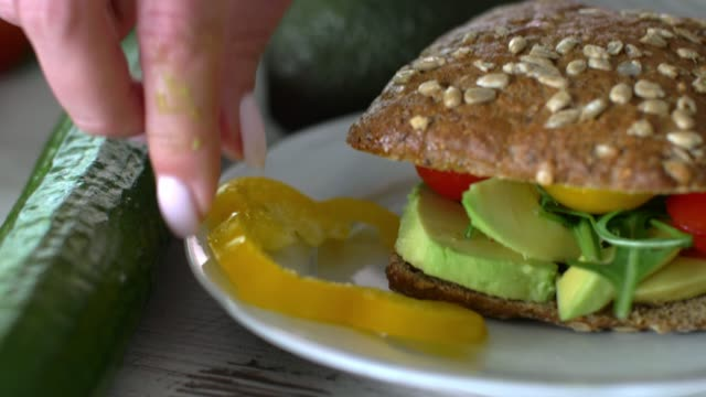 close up of a healthy, delicious sandwich served on a plate - garnish stock videos & royalty-free footage