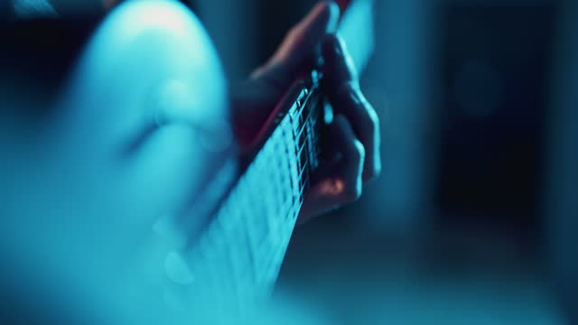 close up of a musician playing a gibson les paul style electric guitar on november 10, 2020 in bristol, uk. - hobbies stock videos & royalty-free footage
