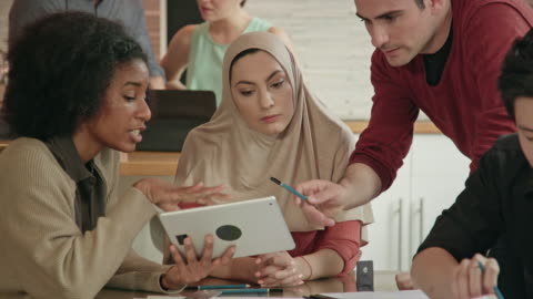 close up of a muslim businesswoman leading multi-ethnic team - middle east stock videos & royalty-free footage