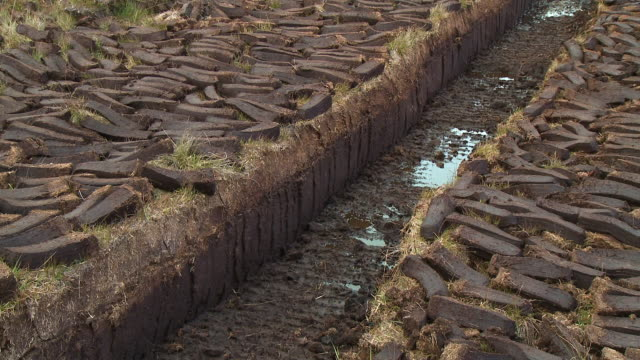 close up of a peat brick ditch - bog stock videos & royalty-free footage