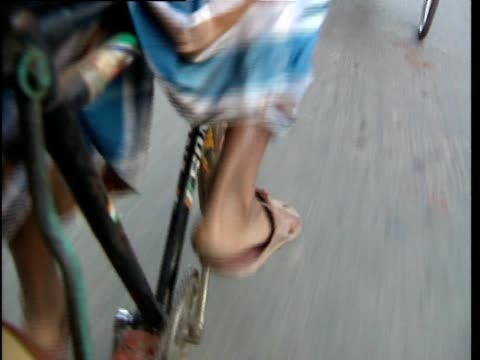 close up of a person pedalling a bike - bangladesh stock videos & royalty-free footage