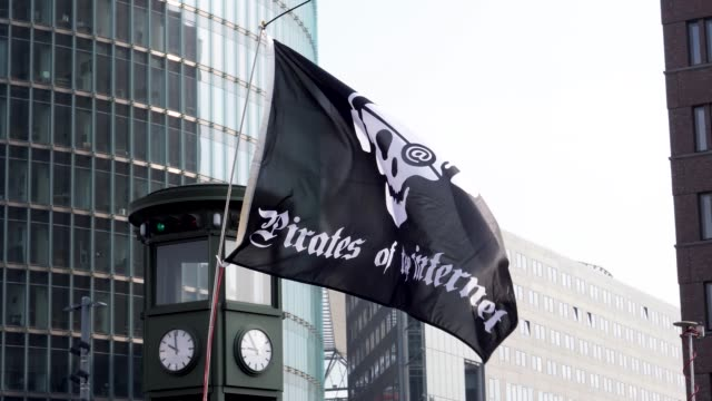 close up of a pirates of the internet protest flag flying in the wind at a protest rally - バナー看板点の映像素材/bロール