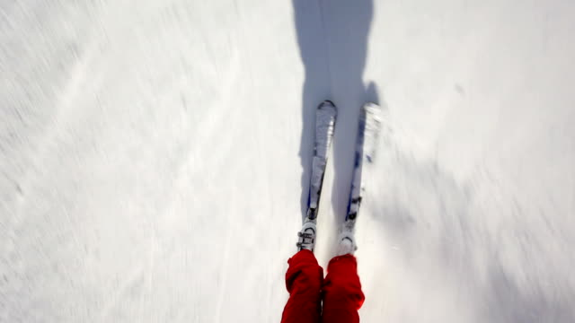 Close up of a skier's legs skiing on snow.