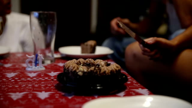 close up of a teenage girl cutting a slice of chocolate cake - cooking utensil stock videos & royalty-free footage