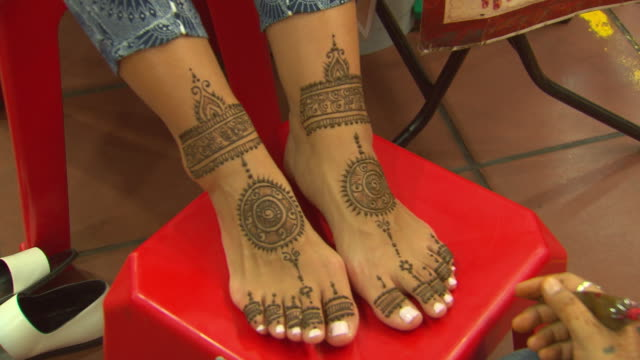 Henna Foot Designs Videos And B Roll Footage