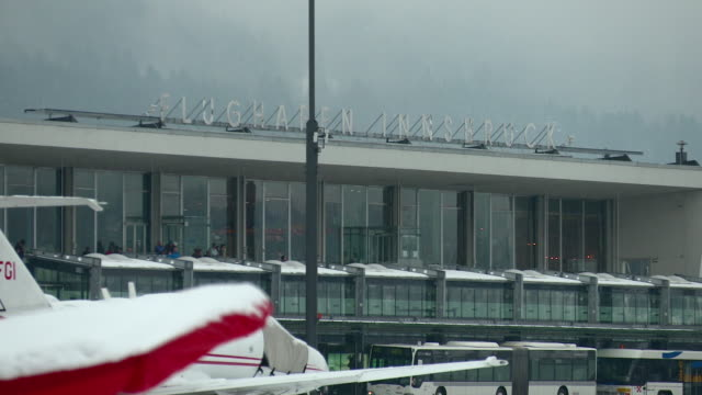 close- up of airport building, innsbruck - innsbruck stock videos and b-roll footage