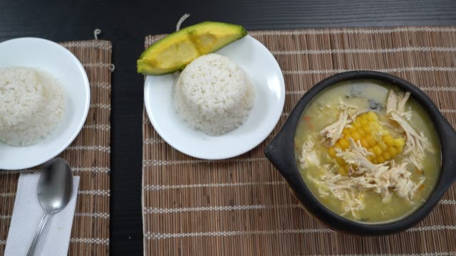 close up of ajiaco - colombian typical food - colombia stock videos & royalty-free footage
