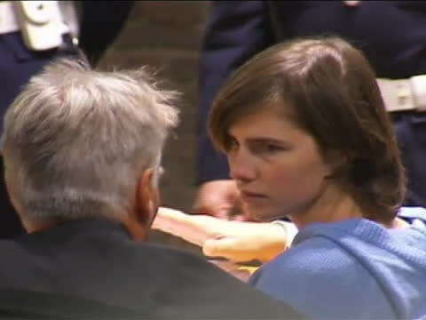close up of amanda knox in court this from the start of her appeals trial at a brief hearing inperugia italy on november 24 2010 knox was convicted... - crime or recreational drug or prison or legal trial video stock e b–roll