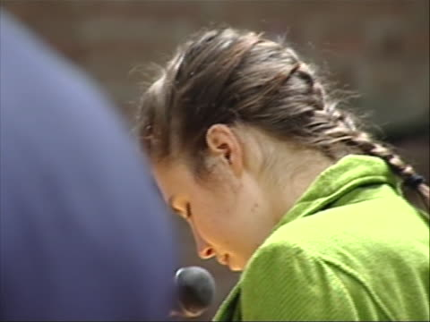 close up of amanda knox standing in court this from the trial of amanda knox the american college student convicted in december of 2009 of the murder... - crime or recreational drug or prison or legal trial video stock e b–roll