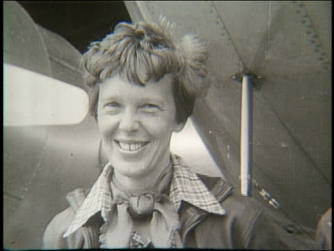 B/W close up of Amelia Earhart smiling