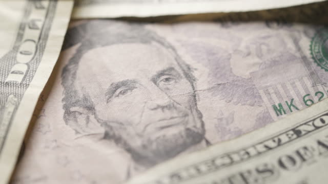 close up of american currency - five dollar bill stock videos & royalty-free footage