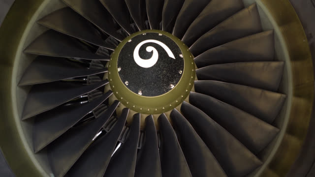 Close up of an airplane turbine