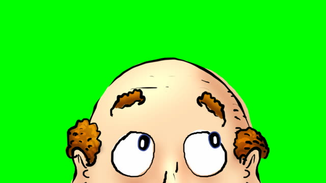 close up of animated balding head on greenscreen - sideways glance stock videos & royalty-free footage