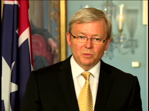 close up of australian prime minister kevin rudd talking to reporters about the alliance between the united states and australia and how it affects... - united states and (politics or government) stock videos & royalty-free footage