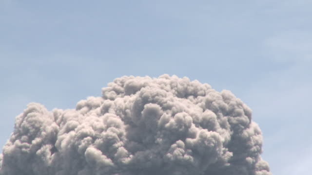 close up of billowing volcanic ash cloud rising buoyantly, krakatoa, indonesia, november 2010 - indonesia volcano stock videos & royalty-free footage