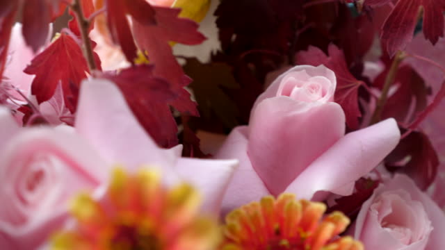 cu close up of bouquet of flowers on valentines day - valentine's day stock videos & royalty-free footage