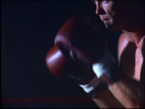 close up of boxer shadow boxing