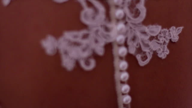 close up of bride's back - wedding dress stock videos and b-roll footage