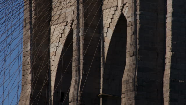 Close up of Brooklyn Bridge column in New York City