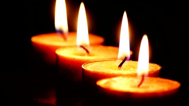 vídeos y material grabado en eventos de stock de cerca de las velas ardientes - pájaro carpintero escapulario