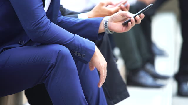 close up of businessman using smartphone.business concept. - conference phone stock videos & royalty-free footage