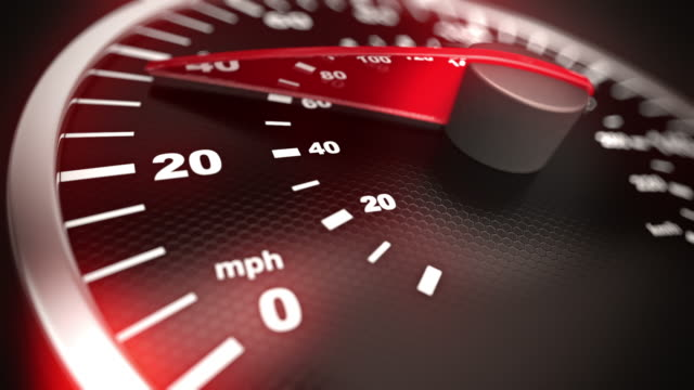 Close up of car speed meter. Loopable CG.