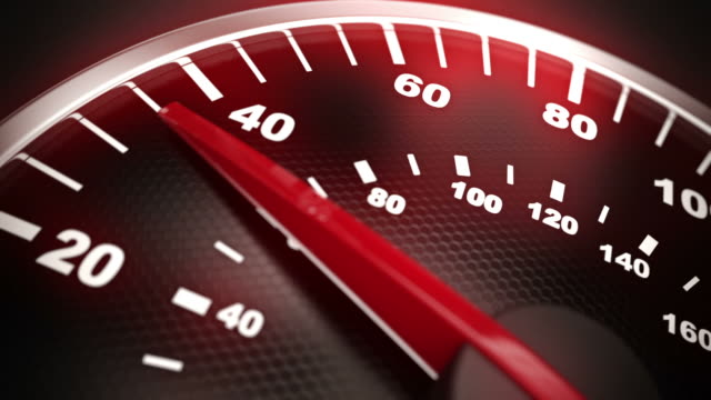 close up of car speed meter. loopable cg. - accelerator pedal stock videos & royalty-free footage
