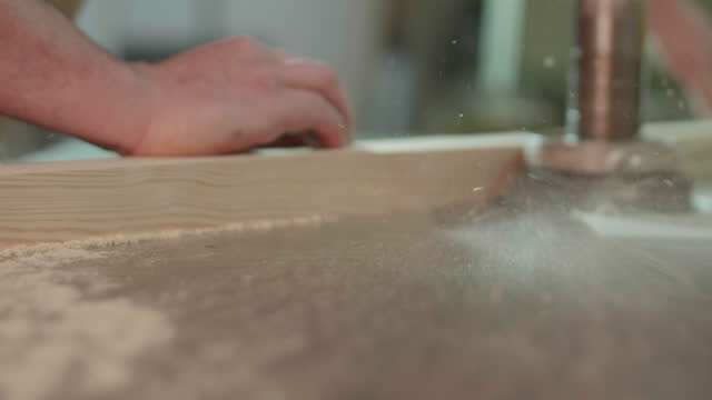 close up of carpenter working in professional carpentry workshop - leipzig saxony stock videos & royalty-free footage