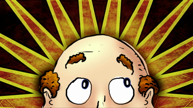Close up of cartoon balding head with colour background