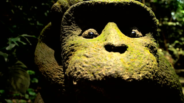 close up of carved monkey face ubud bali - ubud stock videos & royalty-free footage