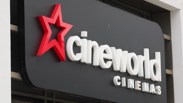 close up of cineworld cinemas logo on multiplex closed due to covid-19 pandemic, in london, england, u.k., on monday, october 5, 2020. cineworld said... - star shape stock videos & royalty-free footage