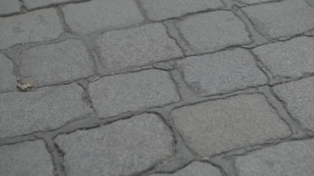 a close up of cobbles in berlin germany on friday july 28 2017 - kopfsteinpflaster stock-videos und b-roll-filmmaterial