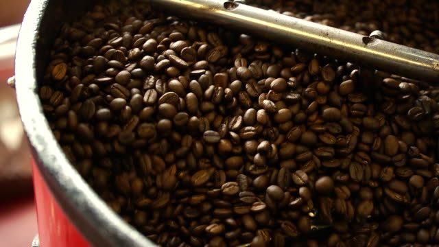Close up of coffee beans in roaster