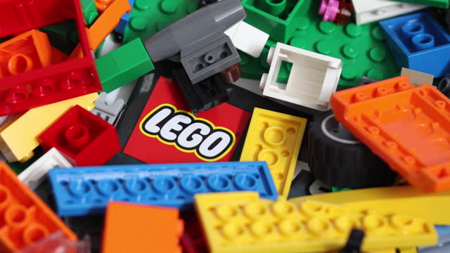 close up of colorful lego blocks, studio shot, in danbury, essex, england, u.k., on friday, march 5, 2021. - extreme close up stock videos & royalty-free footage