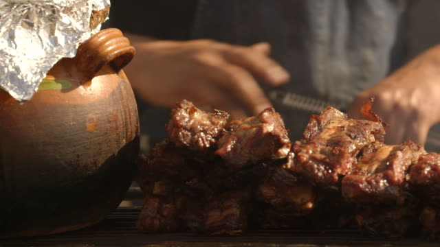 close up of cooking meat - street food stock videos & royalty-free footage