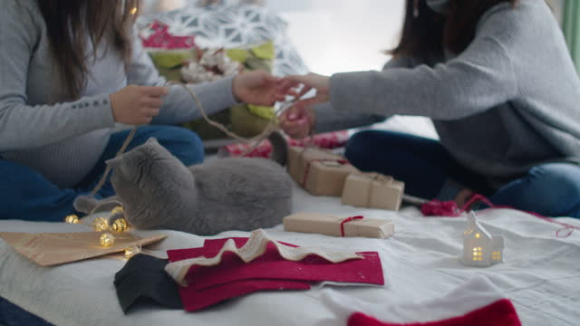 close up of couple of women and a cat wrapping christmas presents at home. workshop at home during covid-19 pandemic. the new normal. - wrapped stock videos & royalty-free footage