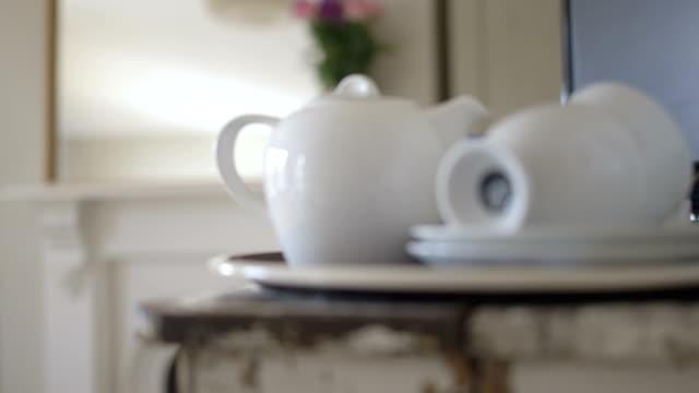 close up of crockery tea pot and cups - tea pot stock videos and b-roll footage