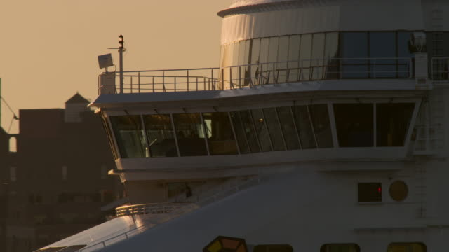 close up of cruise ship pilot house with captain in silhouette - ship's bridge stock videos & royalty-free footage