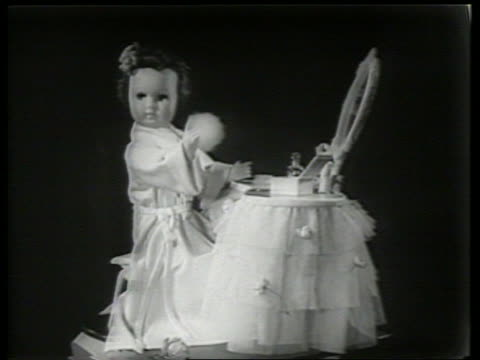 b/w close up of doll at makeup vanity / sound - doll stock videos & royalty-free footage