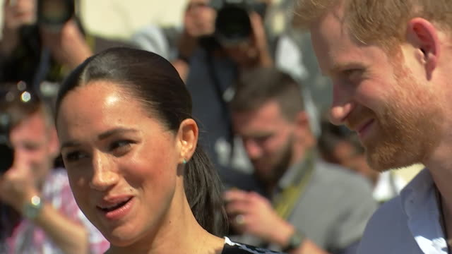 close up of duchess of sussex as her and prince harry visit nyanga township in cape town as part of their africa tour - south africa stock videos & royalty-free footage