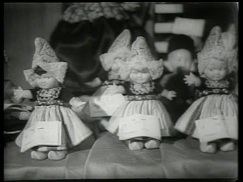 b/w close up of dutch dolls / sound - medium group of objects stock videos & royalty-free footage