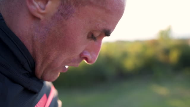 close up of exhausted athlete - inhaling stock videos & royalty-free footage