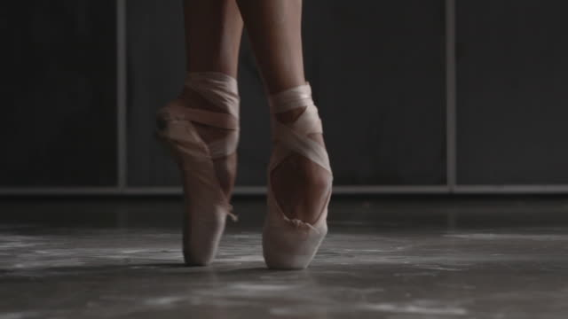 close up of female ballerina's shoes performing brisã©, ã©chappã©, entrechat - ballet shoe stock videos and b-roll footage