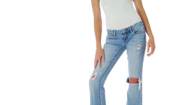 close up of female body in jeans - jeans stock videos & royalty-free footage