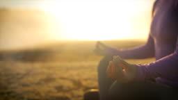 Close up of female hands in mudra gesture.Yoga concept