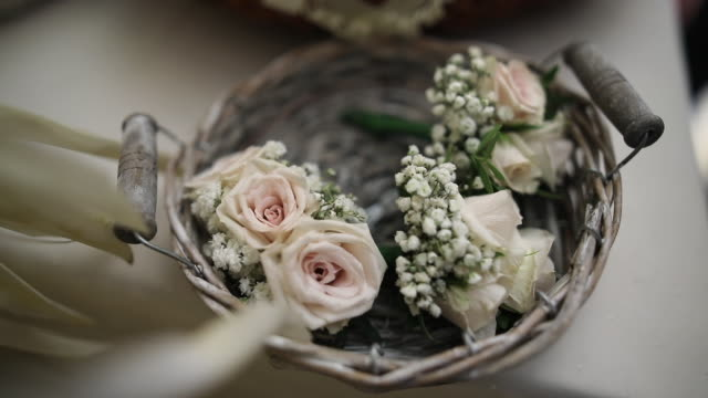 close up of flower arrangement at wedding ceremony - flower arrangement stock videos & royalty-free footage
